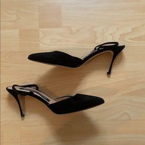 Sergio Rossi worn once black suede heel